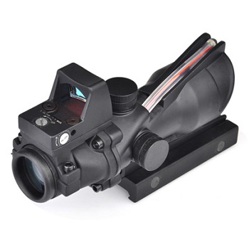Aim-O ACOG 4x32 QD Scope /w miniRedDot inkl. Fiber-Optik (Rot) - Black