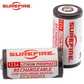 Surefire ® Rechargeable 3.2v 450 mAh LiFePh 123A Battery - 2er Pack