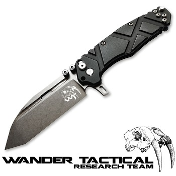 Wander Tactical ® Hurricane Folding Knife (Black Handle) - Clear