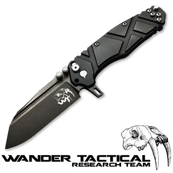 Wander Tactical ® Mistral Folding Knife (Black Handle) - Clear