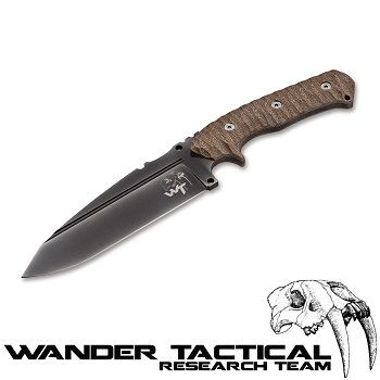 Wander Tactical ® Smilodon Knife (Khaki Handle), Black Kydex - Clear