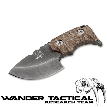 Wander Tactical ® Tryceratops Knife (Khaki Handle), Black Kydex - Clear