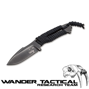 Wander Tactical ® Raptor Knife (Paracord Black Handle), Black Kydex - Clear