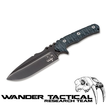 Wander Tactical ® Uro Tactical Knife (Grey Handle), Black Kydex - Clear