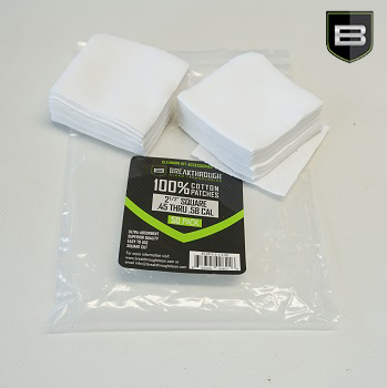 Breakthrough ® Baumwoll Patches (für Kaliber .357 cal. bis .45 cal. & 20 GA) - 50er Pack