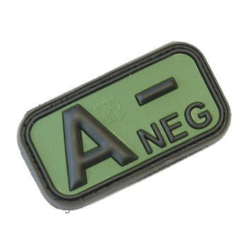 "Defcon 5 ® Blood-Type PVC-Patch ""A, NEG"" - Olive"