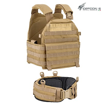 Defcon 5 ® Molle Plate Carrier Vest & Belt - Coyote Brown