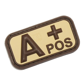 "Defcon 5 ® Blood-Type PVC-Patch ""A, POS"" - Desert"