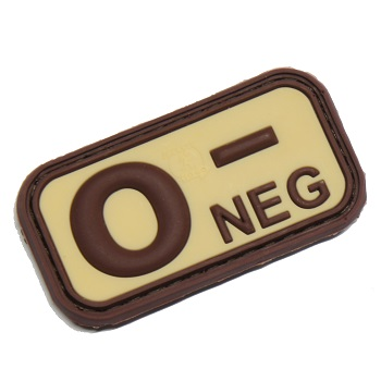 "Defcon 5 ® Blood-Type PVC-Patch ""0, NEG"" - Desert"