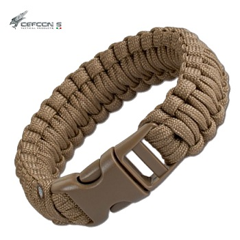 "Defcon 5 ® Armband ""Paracord"" (19mm breit), Coyote Brown - Gr. L"