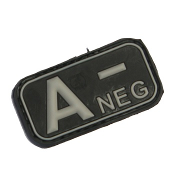 "Defcon 5 ® Blood-Type PVC-Patch ""A, NEG"" - Black"