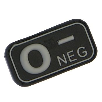 "Defcon 5 ® Blood-Type PVC-Patch ""0, NEG"" - Black"