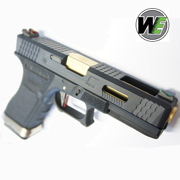 "WE G17 ""SAI Style"" (Black Slide, Golden Barrel) - Black"