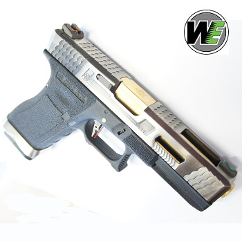 "WE G17 ""SAI Style"" (Silver Slide, Golden Barrel) - Black"