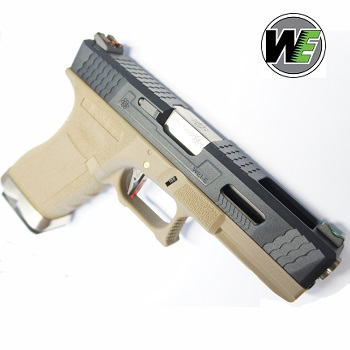 "WE G17 ""SAI Style"" (Black Slide, Silver Barrel) - FDE"