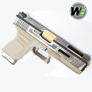 "WE G17 ""SAI Style"" (Silver Slide, Golden Barrel) - FDE"