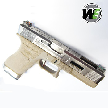 "WE G17 ""SAI Style"" (Silver Slide, Silver Barrel) - FDE"