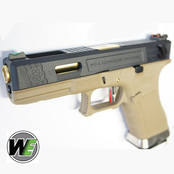 "WE G18C ""SAI Style"" (Black Slide, Golden Barrel) - FDE"