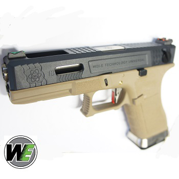 "WE G18C ""SAI Style"" (Black Slide, Silver Barrel) - FDE"