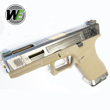 "WE G18C ""SAI Style"" (Silver Slide, Golden Barrel) - FDE"