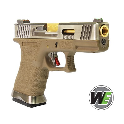 "WE P19 ""SAI Style"" (Silver Slide, Golden Barrel) - FDE"