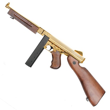 "King Arms x Thompson M1A1 Military ""Grand Special"" AEG - 23k Gold"