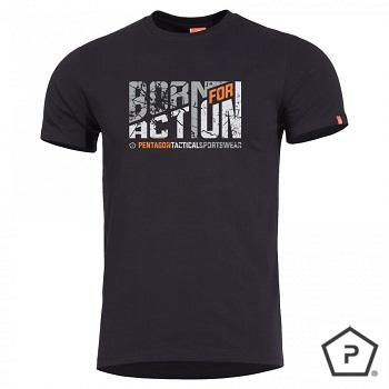 "Pentagon ® T-Shirt ""Born for Action"", Black - Gr. XL"