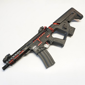"Lancer Tactical M4 Enforcer Needletail ""Skeletonized"" ProLine AEG - Black / Red"