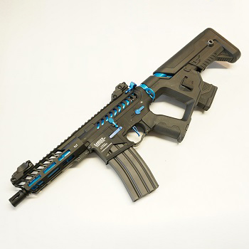 "Lancer Tactical M4 Enforcer Needletail ""Skeletonized"" ProLine AEG - Black / Blue"