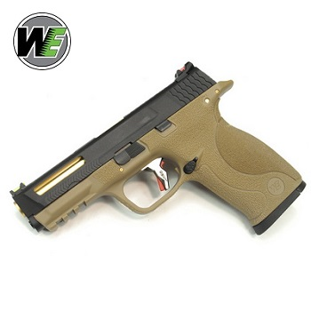 "WE MnP 9 ""SAI Style"" Ported (Black Slide, Golden Barrel) - FDE"