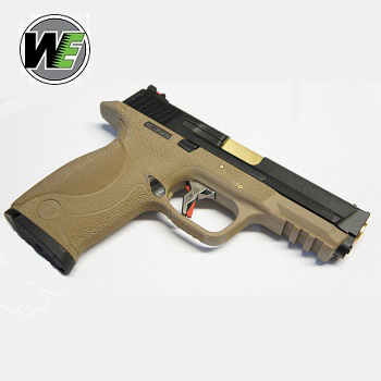 "WE MnP 9 ""SAI Style"" Solid (Black Slide, Golden Barrel) - FDE"