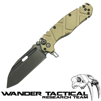 Wander Tactical ® Hurricane Folding Knife (Olive Handle) - Black