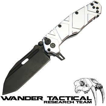 Wander Tactical ® Hurricane Folding Knife (Silver Handle) - Black