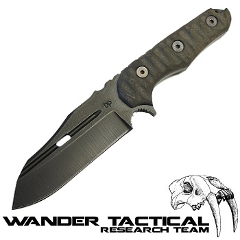 Wander Tactical ® Mistral Knife (Pitch Black Handle), Black Kydex - Black