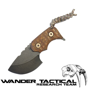 Wander Tactical ® Tryceratops Knife (Dark Wood Handle), Black Kydex - Clear