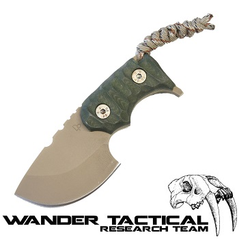 Wander Tactical ® Tryceratops Knife (Olive Handle), Olive Kydex - FDE